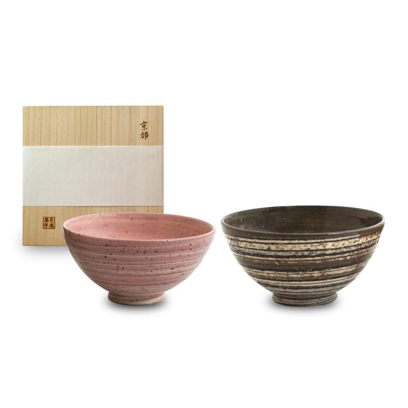画像1: 練込夫婦飯碗(木箱入)