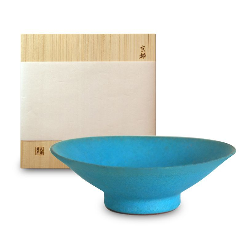 画像1: そり大鉢・トルコ釉(木箱入)