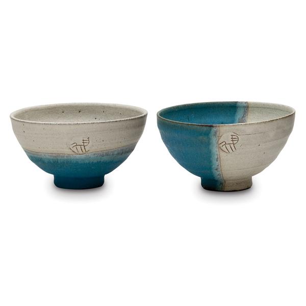 画像1: ホワイト&ブルー飯碗ペア