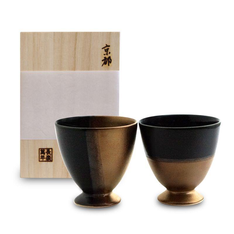 画像1: 金閣銀閣ゴブレットペア(木箱入)